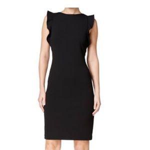Calvin Klein black dress with ruffle sleeves